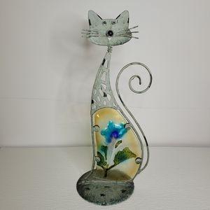 Metal Art Outdoor Garden Cat Figure w/ fused glass